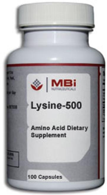 MBi Nutraceuticals Lysine 500mg 100 Capsules