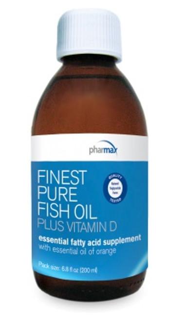 Pharmax Finest Pure Fish Oil PLUS Vitamin D (orange) 6.8 fl oz (200 ml)