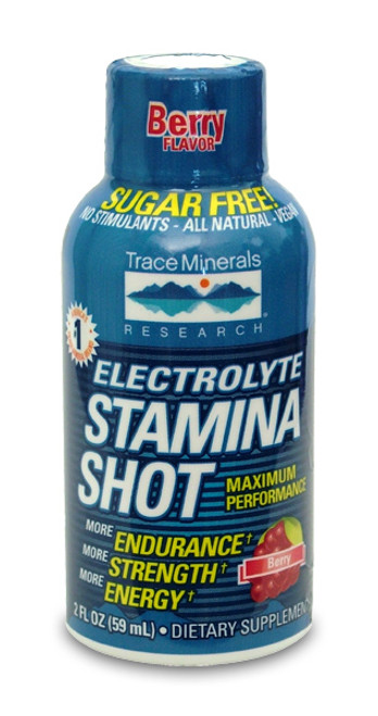 Trace Minerals Electrolyte Stamina Shot Display 12 Pack Natural Berry Flavor