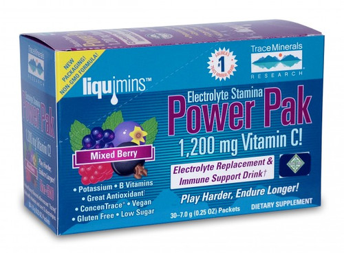 Trace Minerals Electrolyte Stamina Power Pak Non GMO Mixed Berry 30 Packets