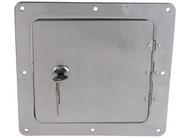 Ultra_fab_service_body_rv_truck_bed_universal_locking_fuel_fill_gas_filler_neck_housing_protector_bezel_bracket_access_door_polished_aluminum_stainless_chrome_square uf48-979010_48-979010_48979010  Ultra fab universal locking fuel fill gas filler neck housing protector bezel bracket access door polished aluminum stainless chrome square uf48-979010, 48-979010, 48979010