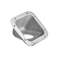 55° degree aluminum fuel fill pip guard, housing, bezel, protector, cast products ambulance, fire truck, emergency vehicle applications