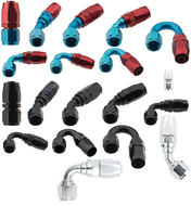 FRAGOLA 2000 SERIES PTFE AN-10 NYLON RACE HOSE SWIVEL END FITTINGS WITH COLOR BLUE AND RED, BLACK AND POLISHED