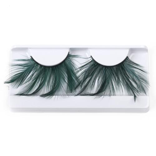 Green Feather False Strip Eyelashes by Lash Stuff