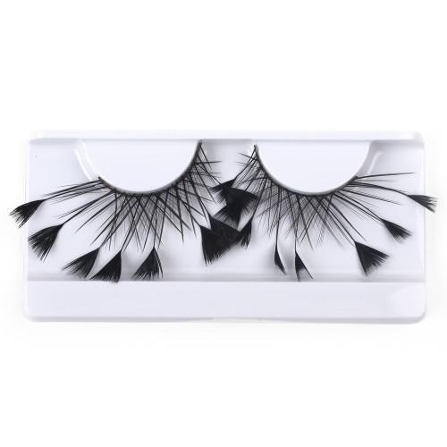 Black Feather False Strip Eyelashes by Lash Stuff
