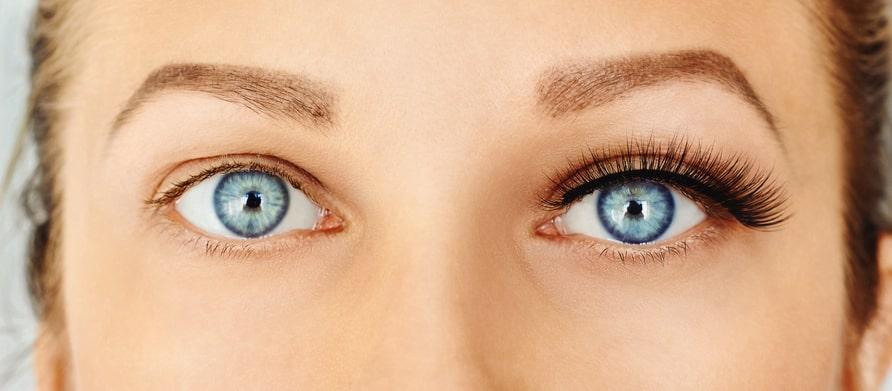 Woman wearing volume eyelash extensions