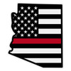 Black American Flag with Red Line on Arizona Outline Reflective Decal