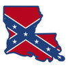 Confederate Flag on Louisiana Outline Reflective Decal