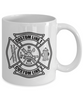 Custom Fire Department Black Maltese Cross 11 oz. White Coffee Mug