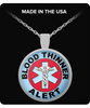 Blood Thinner Alert Medical Charm Necklace