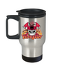Firefighter with Skull Stainless Steel Travel Mug