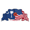 SC Firefighter on South Carolina & US Flag Decal
