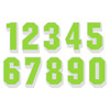 Lime Green on White Reflective Shadow Letters & Numbers
