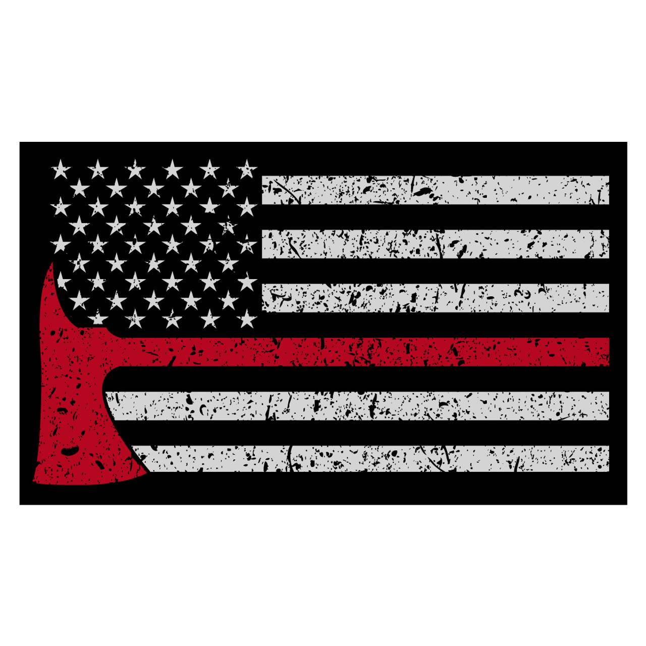 Red Line American Flag >> Black American Flag With Red Line Axe Decal