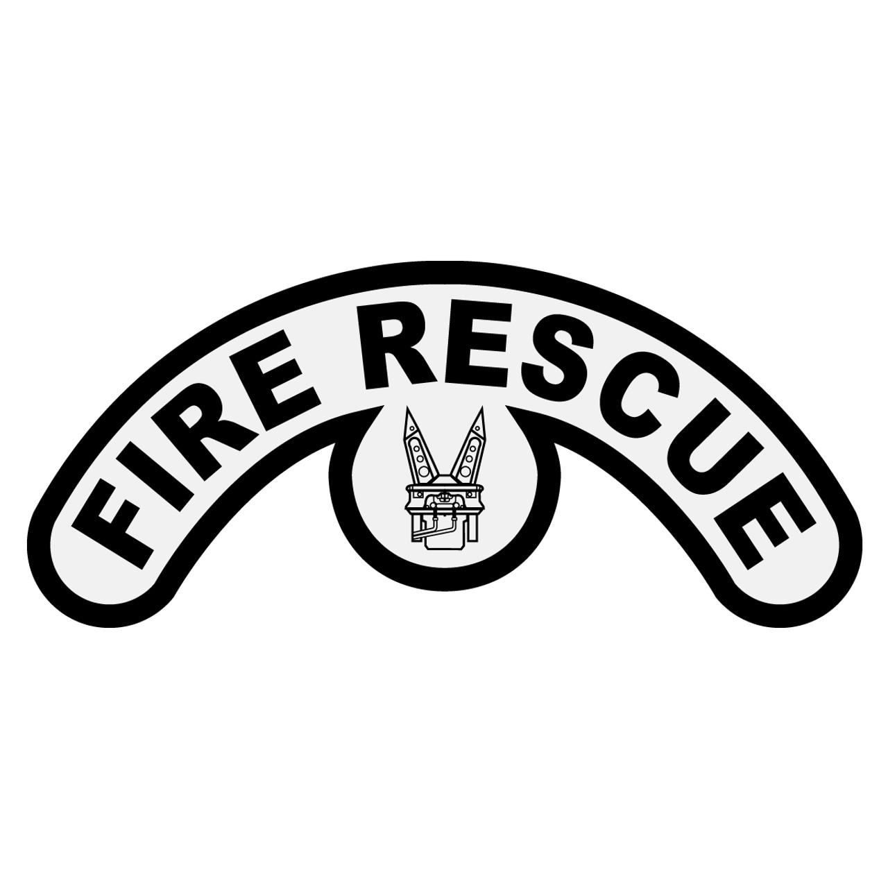 Fire Rescue White on Black Helmet Crescent Reflective Decal Sticker