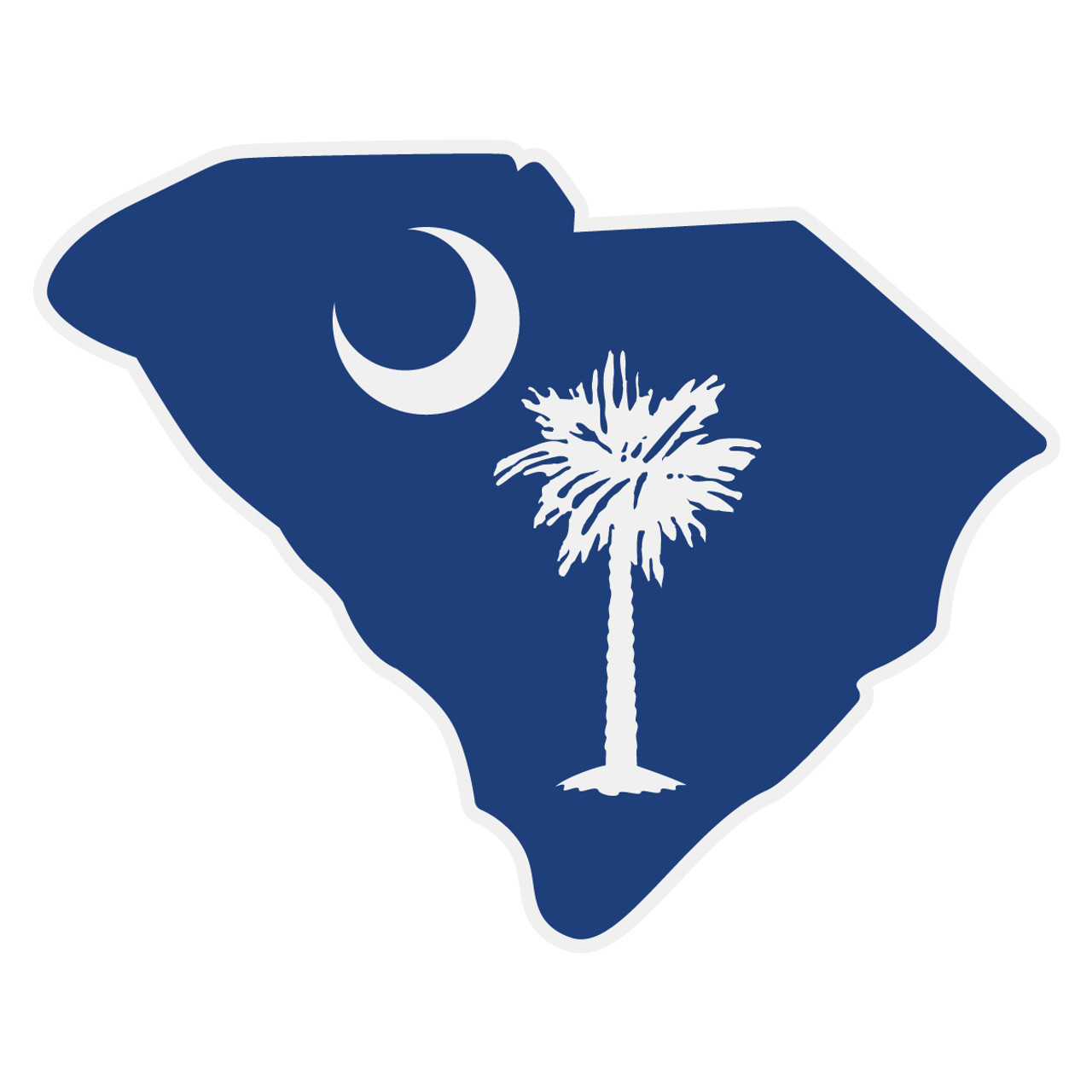South Carolina Flag On Sc Outline Decal