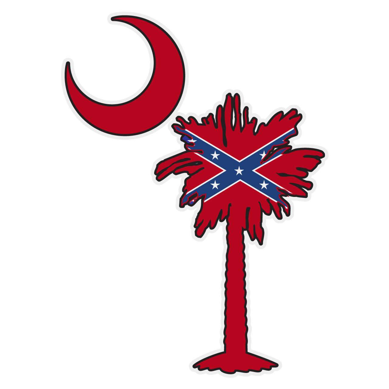 South Carolina State Flag Oval Sticker Decal Vinyl V3 SC