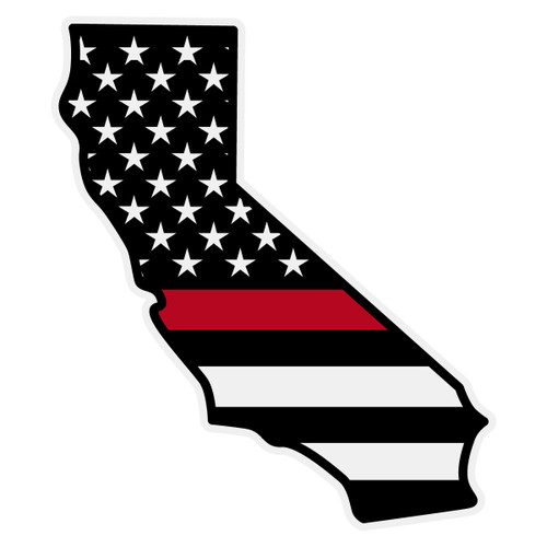 Black American Flag with Red Line on California Outline Decal