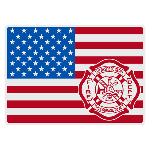 American Flag with Maltese Cross Decal