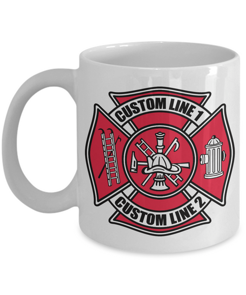 Custom Fire Department Full Color Maltese Cross 11 oz. White Coffee Mug