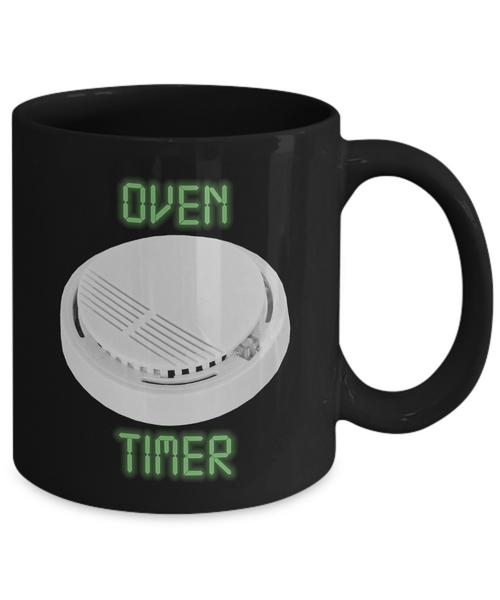 Oven Timer Smoke Alarm 11 oz. Black Coffee Mug