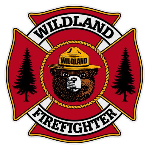 Wildland Firefighter Maltese Cross with Wildland Bear Reflective Decal