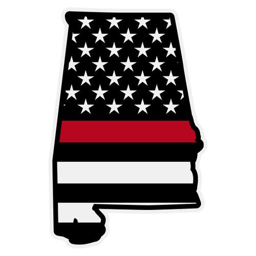 Red Line US Black Flag on Alabama Outline Decal