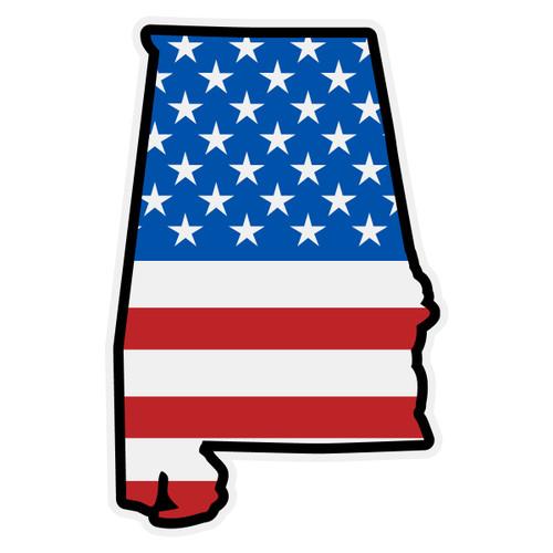 US Flag on Alabama Outline Decal