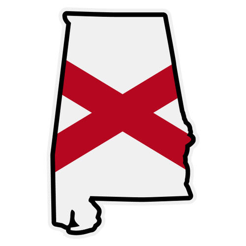 Alabama Flag on Alabama Outline Decal