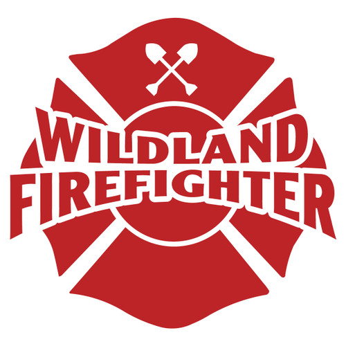 Wildland Firefighter on Maltese Cross Decal