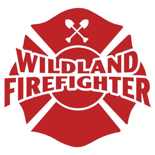 Wildland Firefighter on Maltese Cross Decal
