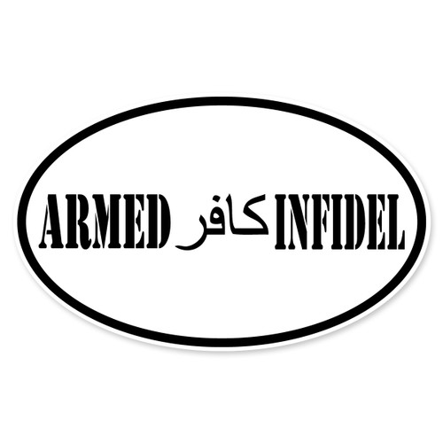 Armed Infidel Oval Decal