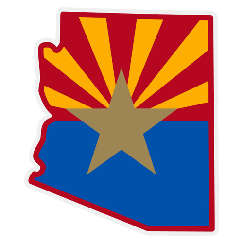 Arizona Flag on Arizona Outline Reflective Decal