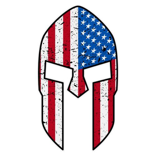 American Flag Spartan Helmet Decal