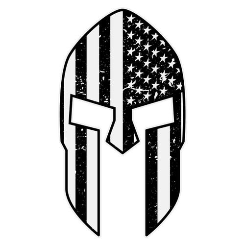 Black American Flag Spartan Helmet Decal