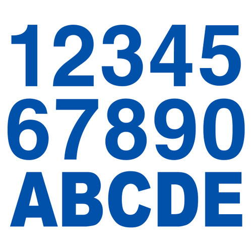 Bright Blue Reflective Letters & Numbers