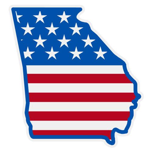 US Flag on Georgia Outline Decal