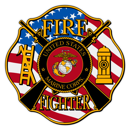 Marine Fire Fighter Maltese Cross Decal