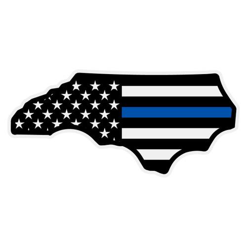 Black American Flag with Blue Line North Carolina Decal