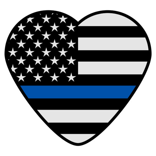 Black American Flag with Blue Line Heart Decal