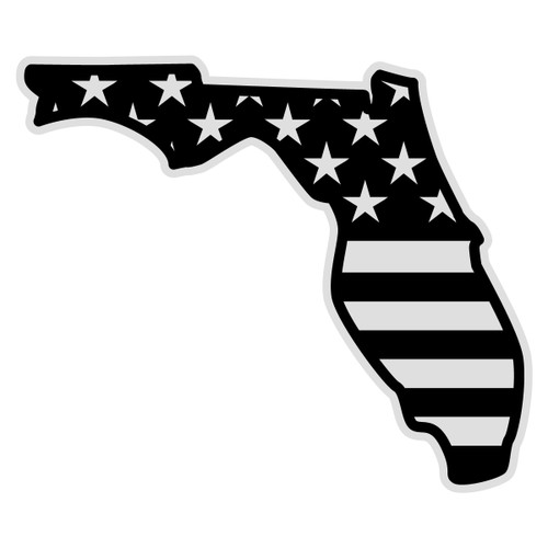 Black American Flag on Florida Outline Decal