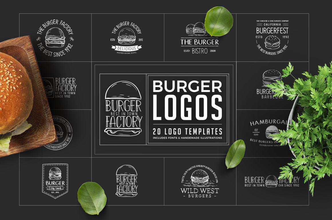 Retro Burger Logos Including Fonts