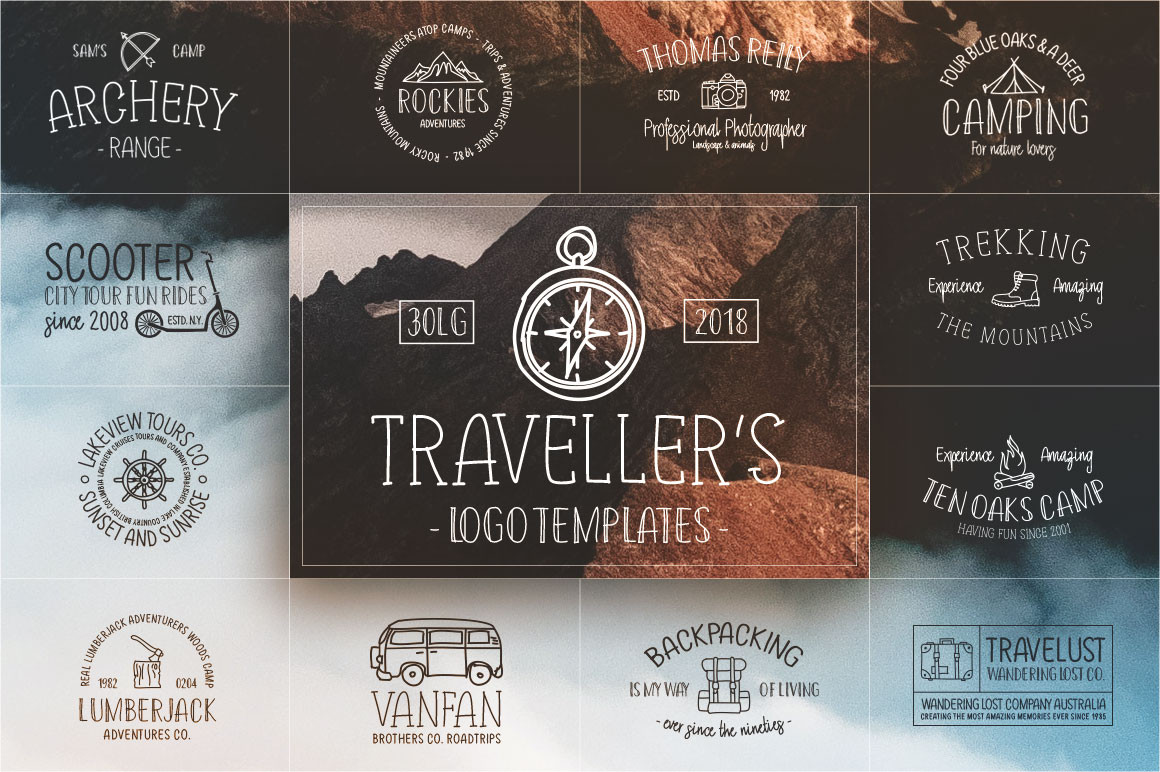Retro Travel Logos & Fonts