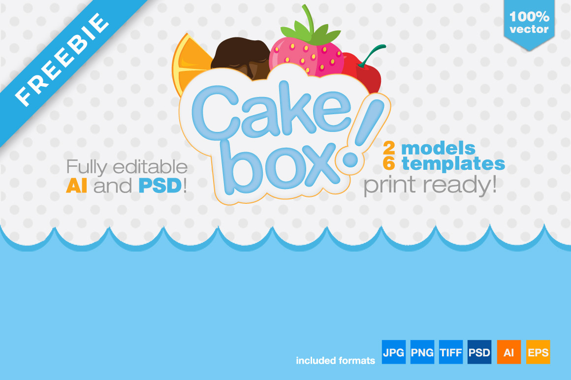 Gift Box Packaging Cake Template