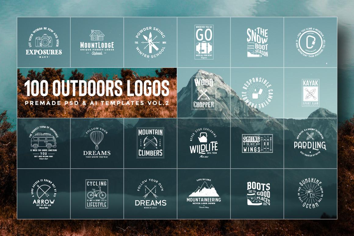 100 Outdoors Adventurer Logos Vol.2