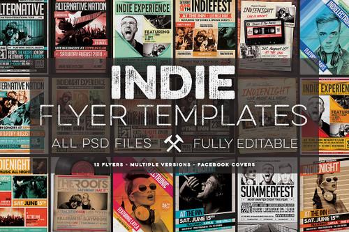 12 Indie Flyers Bundle + FB Covers