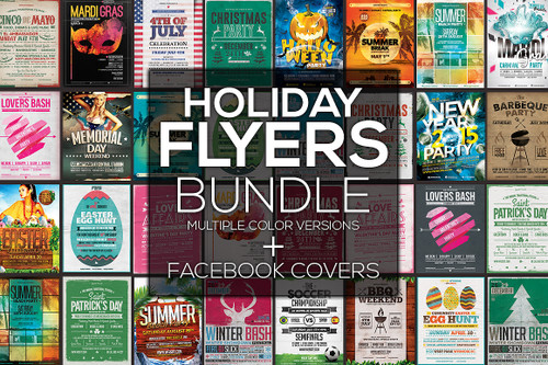 20 Holiday Flyers + FB Covers