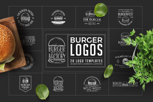 Retro Burger Logos Including Fonts
