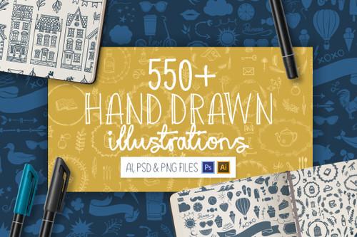 550+ Hand Drawn Illustrations