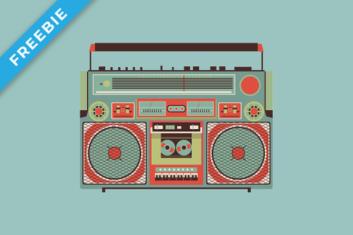 Retro Boombox Illustration